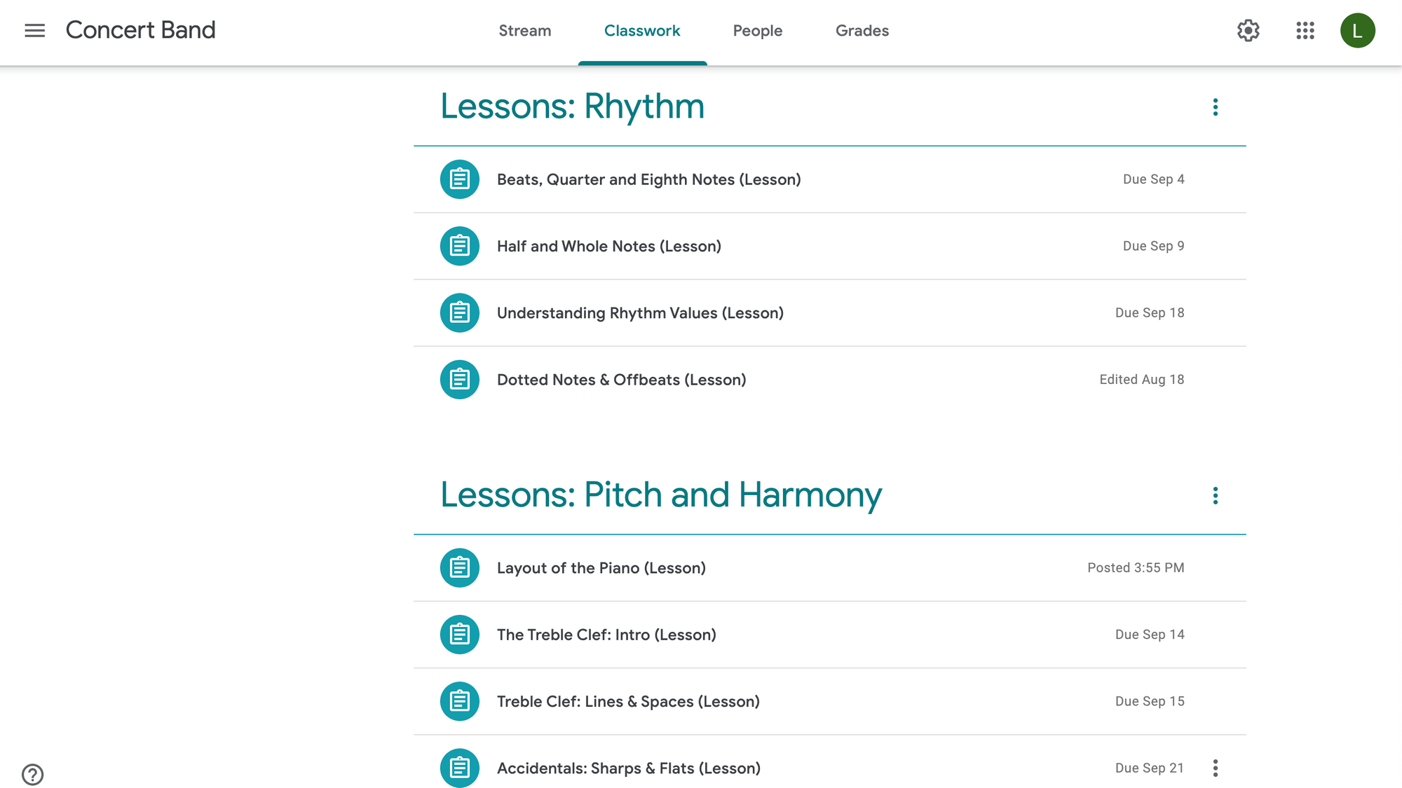 Image of synchronized lessons in Google Classroom.