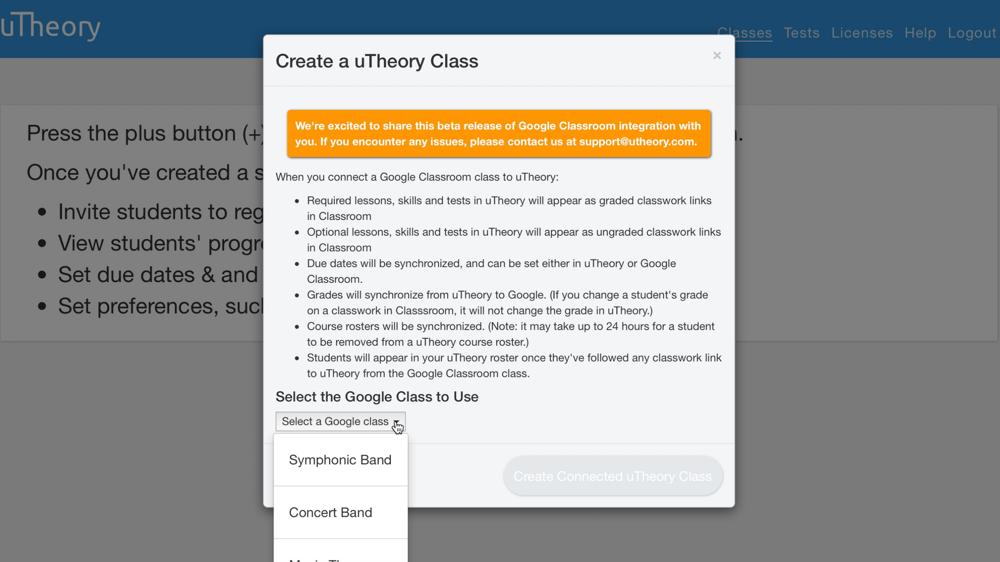 Image of selecting your Google Class to add to uTheory.
