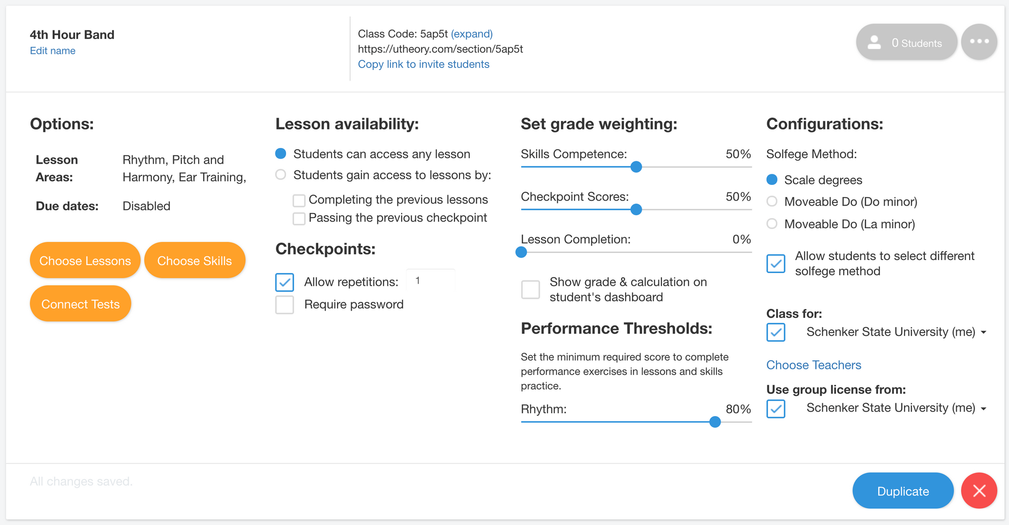 Image of Class Settings in the uTheory Teach Tab