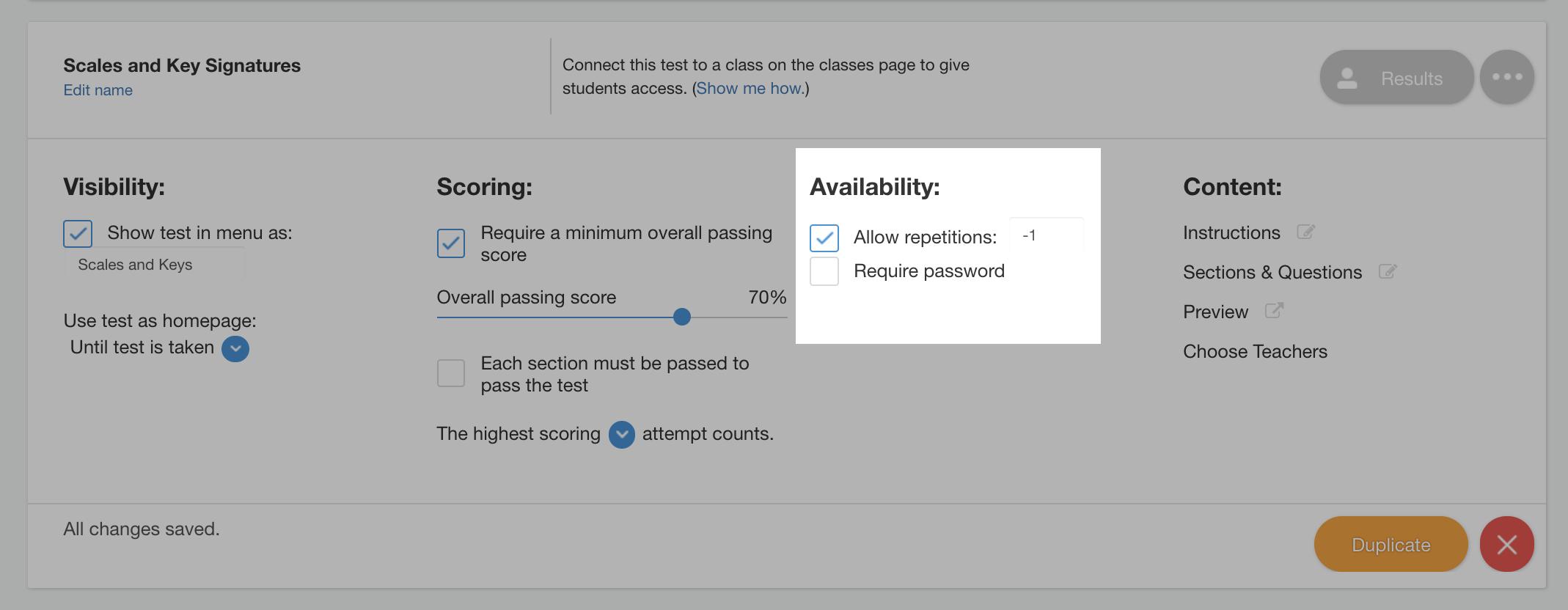 test availability options
