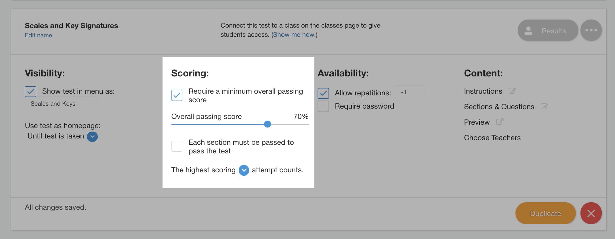 test scoring options