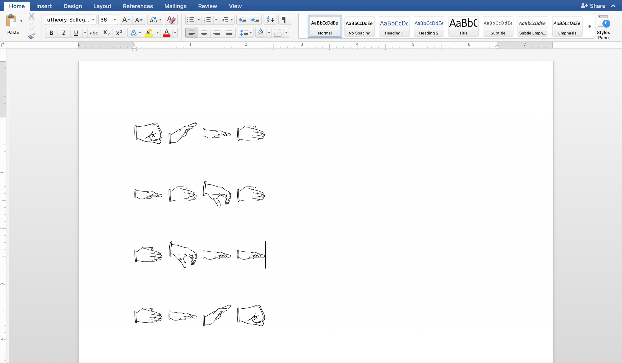 Image of using uTheory's solfege hand sign font to write out melodies in a word processor