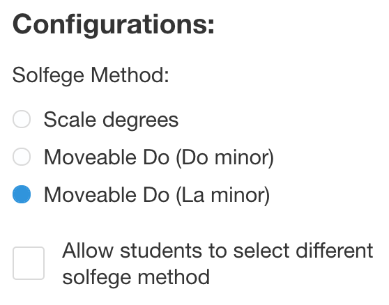 """Solfege configuration options from uTheory class settings, showing Moveable Do (La minor) selected, among the choices Scale Degrees, Moveable Do (Do Minor) and Moveable Do (La minor). A checkbox """"Allow students to select different solfege method"""" is unchecked."""